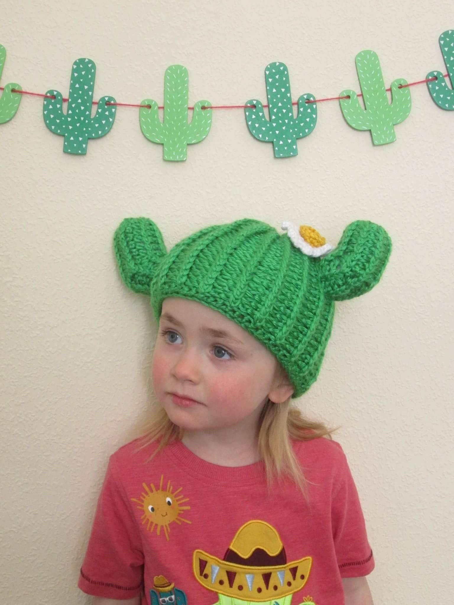 Handmade Crocheted Baby and Toddler s Cactus Novelty Hat  Cactus ... 0f8e1fb6661a