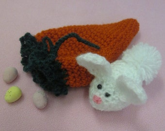 Handmade Crocheted Fillable Drawstring Carrot Pouch with Amigurumi Bunny Toy/ Easter Purse/Easter Party Favor/Easter Candy Holder