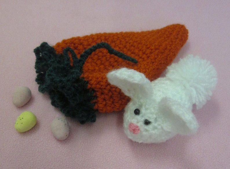 Handmade Crocheted Fillable Drawstring Carrot Pouch with image 0