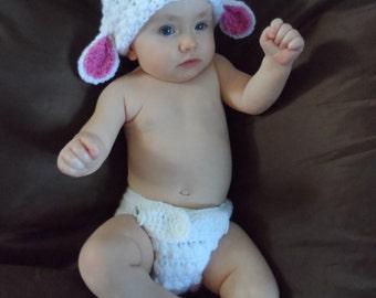Handmade Crocheted Fluffy Easter Lamb Baby Costume/ Baby Photography Prop/ Halloween Costume/ Christmas Gift