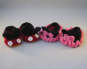 His n' Hers Handmade Crocheted Little Black Mouse Baby Booties/ Baby Shower Gift/Crocheted Baby Booties/ Baby Mouse Shoes/Baby Booties