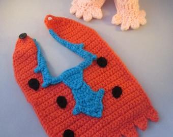 Yabba Dabba Prehistoric Baby Handmade Crocheted Bib and Booties Set/ Halloween accessories/ Newborn Photography Prop/Christmas Gift