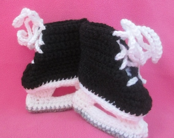 Handmade Crocheted Baby's Ice Hockey Skate Lace- Up Booties/Christmas Gift/ Baby Shower Gift/Stocking Stuffer/Baby Ice Skates/ Baby Booties