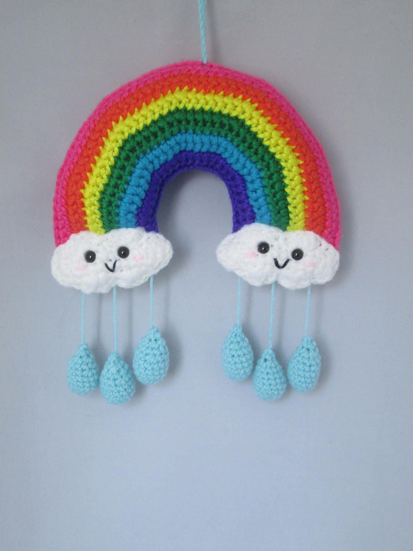 Happy Little Rainbow Handmade Crocheted Baby Mobile/ Wall ...