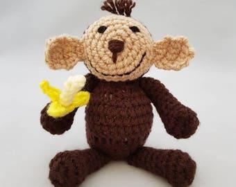Handmade Crocheted Happy Monkey With Banana Amigurumi Doll/ Monkey With Banana Soft Toy/ Monkey With Banana Plushy/ Jungle Nursery Decor