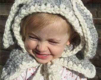 Snuggle Bunny Handmade Crocheted Baby/ Toddler Hooded Cape/ Photography Prop/Christmas Gift