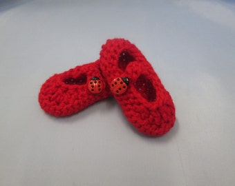 Lovebug Valentine Handmade Crocheted Baby Shoes/Christmas Gift/ Baby Mary Jane Shoes/ Red Baby Booties/ Crochet Booties/ New Baby Shoes