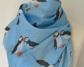 Puffin scarf - women's puffin print scarf - puffin wrap - puffin shawl - in 100% cotton