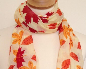 995eac6c4 Leaf scarf - golden autumn leaves - fall colours - red - orange - yellow -  leaf wrap - leaf shawl - womens autumn fall scarf in 100% cotton