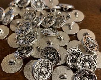 10 Irregular Shaped Shank Hammered Antique Light Golden Colour Metal Buttons