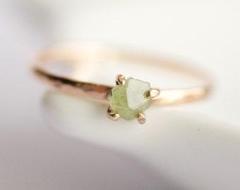 Raw Green Demantoid Garnet Ring. Demantoid Garnet Ring. Garnet Ring. Raw Garnet Ring. Green Garnet Ring. Gift for Her.
