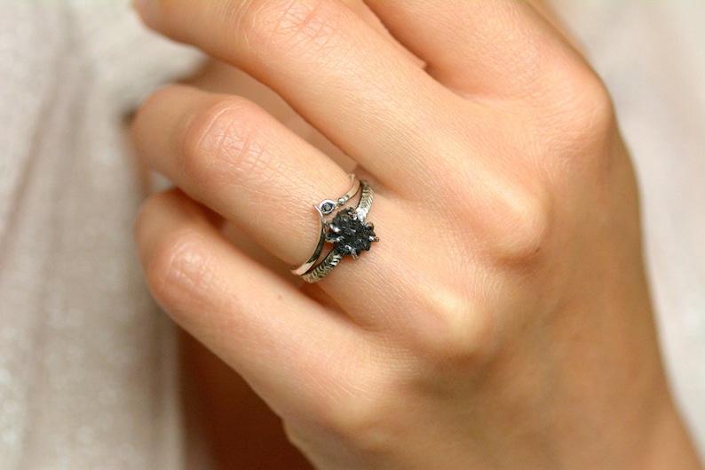 Engagement Ring Organic Raw Black Diamond Engagement Ring Raw Black Diamond Ring Black Diamond Ring Alternative Engagement Ring
