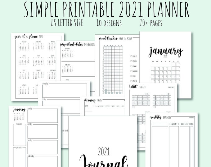 Simple Printable 2021 Planner, Minimalistic Planner, Instant Download PDF Planner, US Letter Size Planner