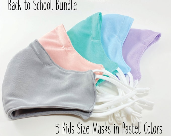 Back to School Bundle, Kid Size Face Mask, Adjustable Soft Ear Loops, Wired Nose Bridge, Super Soft Fabric Face Mask