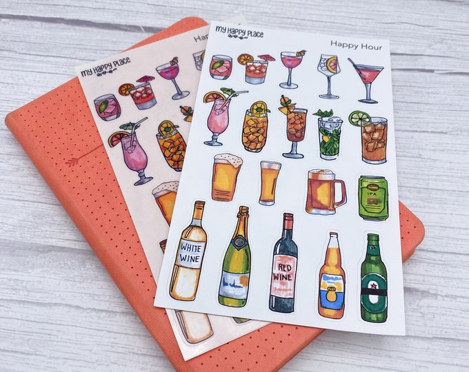 Happy Hour Stickers, Stationary Stickers, Bujo Planner, Bullet Journal Stickers