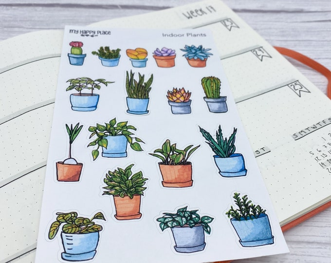 Indoor Plants Stickers, Stationary Stickers, Bujo Planner, Bullet Journal Stickers