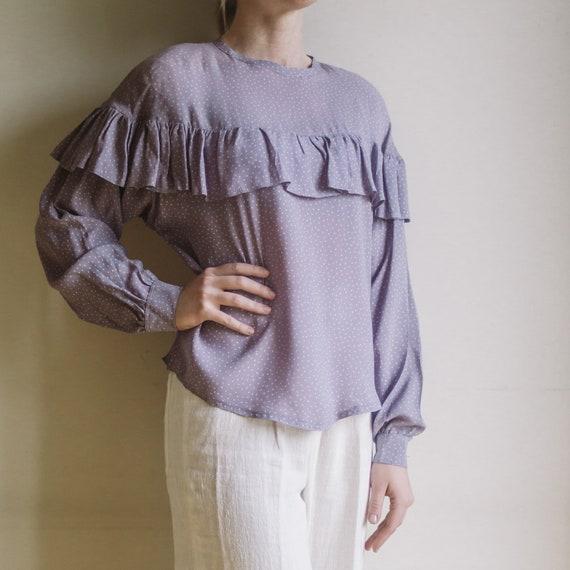 Vintage Purple Lilac Blouse | Polka Dots Blouse |… - image 2