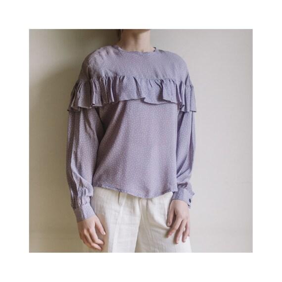 Vintage Purple Lilac Blouse | Polka Dots Blouse |… - image 1