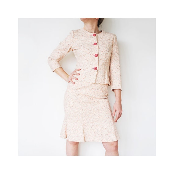 Vintage Pink Skirt Set | Two Piece Suit Set | Blaz