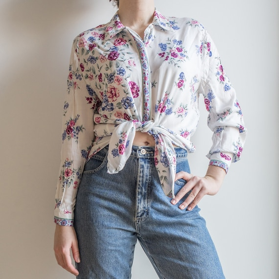 floral viscose hipster jacket women/'s blue and white print top Made in Italy L Vintage 90s floral print summer jacket OR Blouse