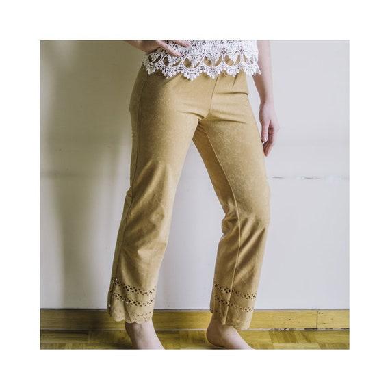 Mustard Yellow Pants With Elastic Waist, High Wais