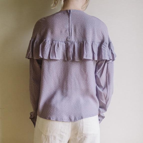 Vintage Purple Lilac Blouse | Polka Dots Blouse |… - image 3