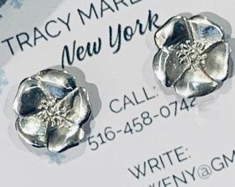 Silver or Gold Flower Post Stud Earrings Desert Rose Strong & Beautiful