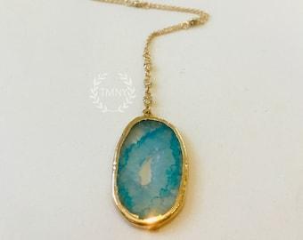 Aqua Druzy Geode Slice and Gold CZ Necklace
