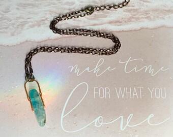 Hammered Copper Aqua Agate Stick Gemstone Necklace