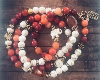 3 Way Ruby Jade & Howlite Gemstone Warrior Wrap Bracelet Necklace Choker