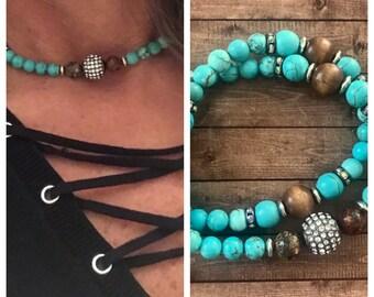 Turquoise Gemstone Double Stretch Bracelet / Choker