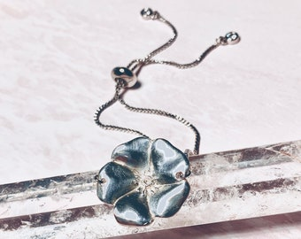 Desert Rose Flower Adjustable Slide Bracelet w Dangling Bezel Charms Silver or Gold