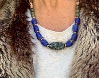 Beaded Chunky Statement Necklace Lapis Jasper Sunstone Gemstone Adjustable Long