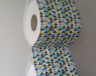 Fabric Toilet Paper Holder Storage White Yellow Blue Grey Triangles . Bath  Decorative . Fabric Storage. Original Gift. Housewarming