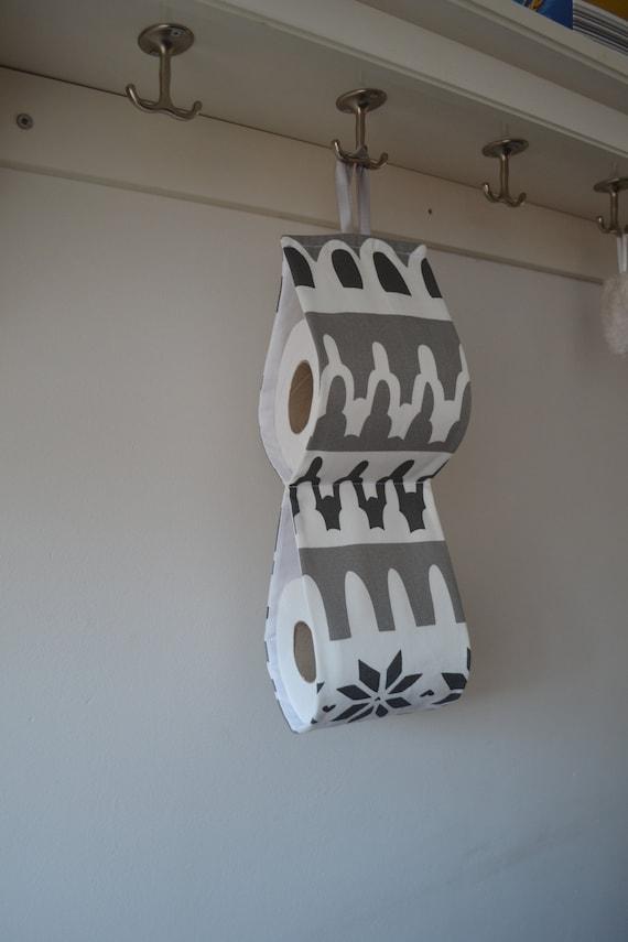 Tissu décoratif papier toilette Support rangement au mur/2 ou 3  rouleaux/blanc-tissu gris. petit rangement de salle de bains. Support  pratique.