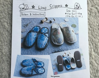 Wrap Slippers Pattern and soles kit set (sole 003)