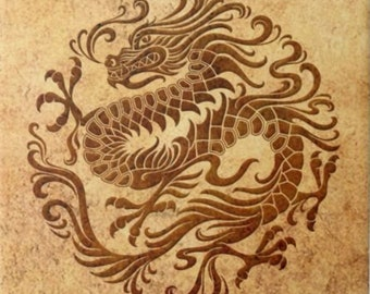 Lovely Ancient Vintage Year Of The Chinese Gothic Ocre Brown Dragon Style Design 108mm 425 Ceramic Tile Coaster Kitchen Bath Splash Back