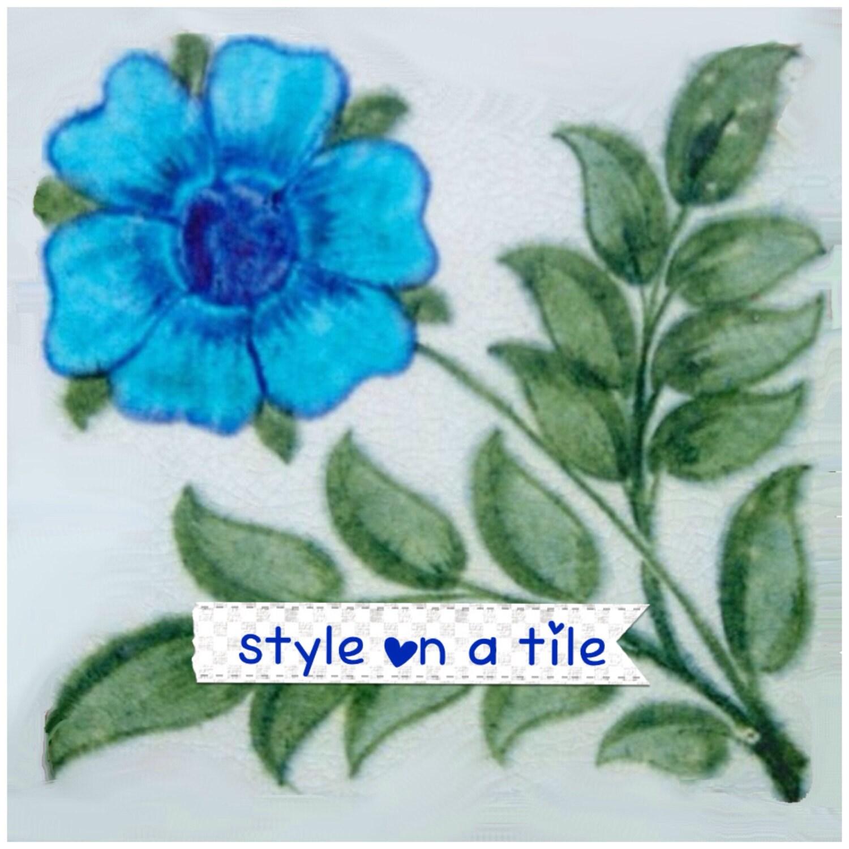 Lovely William De Morgan Blue Tudor Rose flower small ceramic tile ...