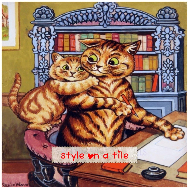 Lovely Louis Wain Tabby Mummy Daddy Cat Kitten Library