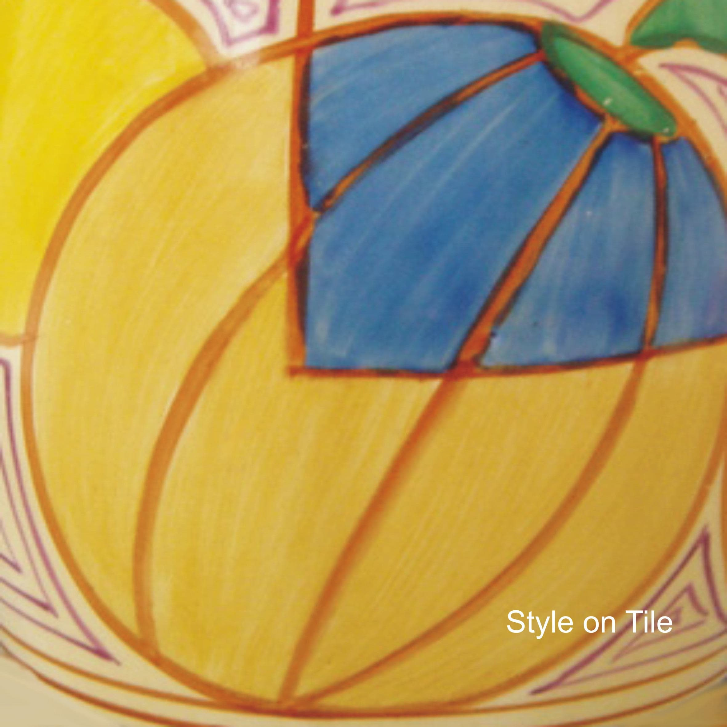 Lovely Art Deco Clarice Cliff Yellow Blue Melon Fruit large 20cm or ...