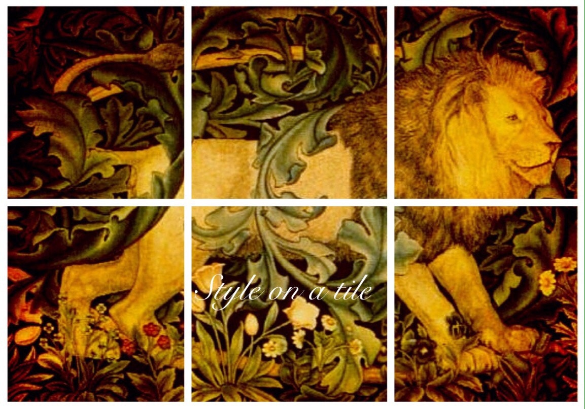 Lovely Arts and Crafts William Morris design b Lion Forest 6 x 4.25 ...