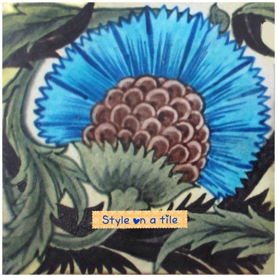 Belle William De Morgan Sunflower design bleu napperon carré table serveur mat pièce maîtresse