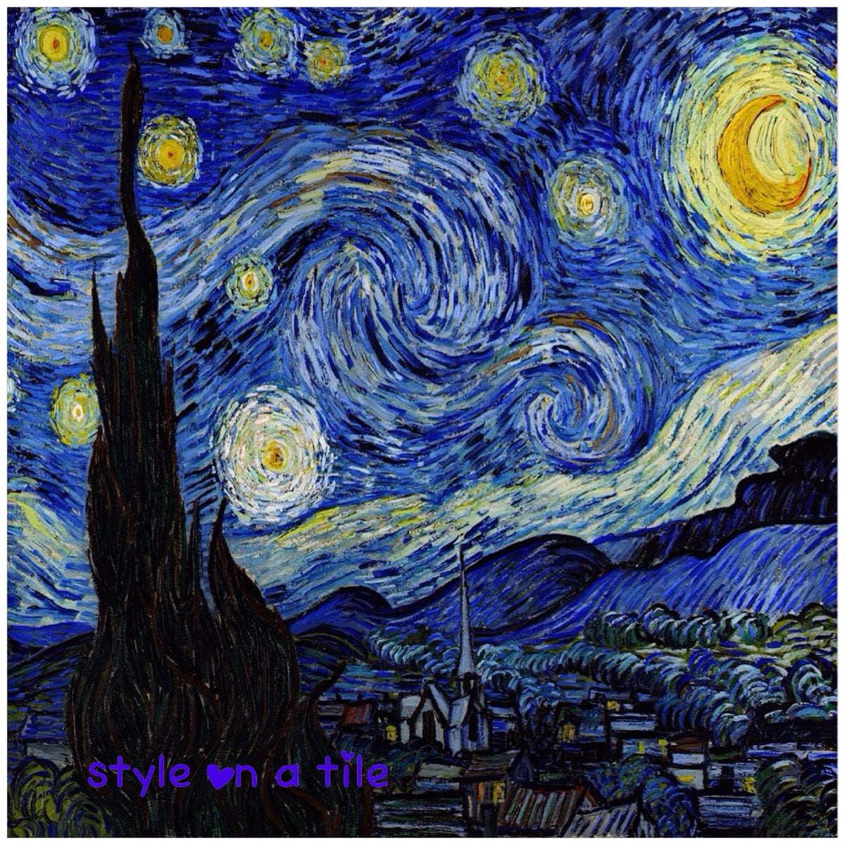 Lovely Vincent Van Gogh Starry Night 108mm/4.25 small ceramic tile ...