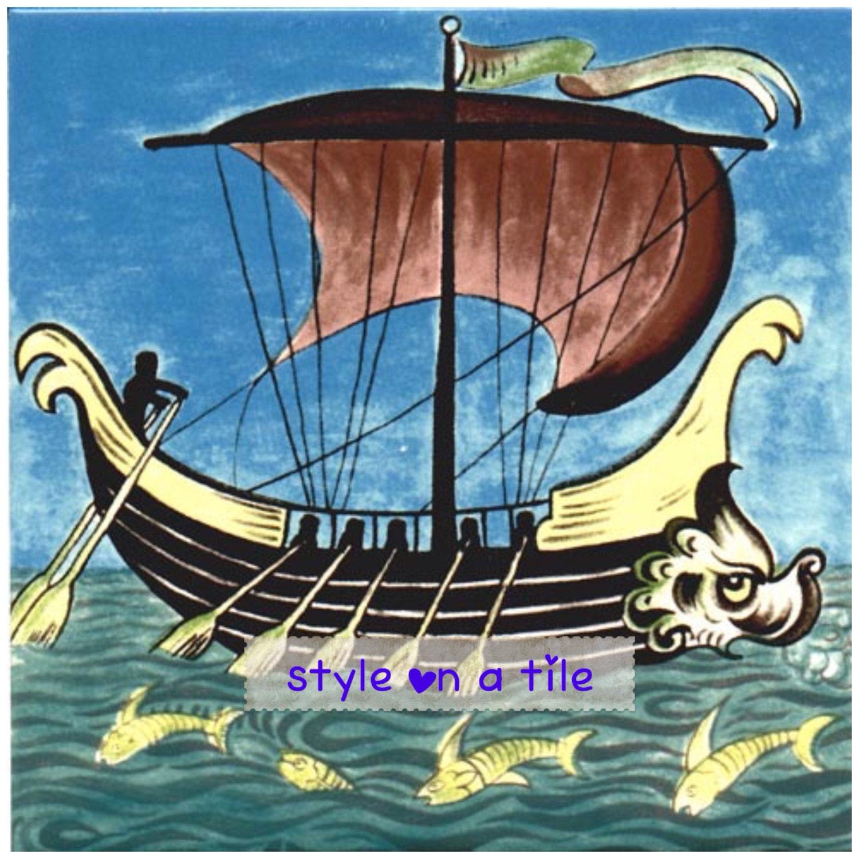 Lovely William De Morgan Galleon Ship e small ceramic tile drink ...