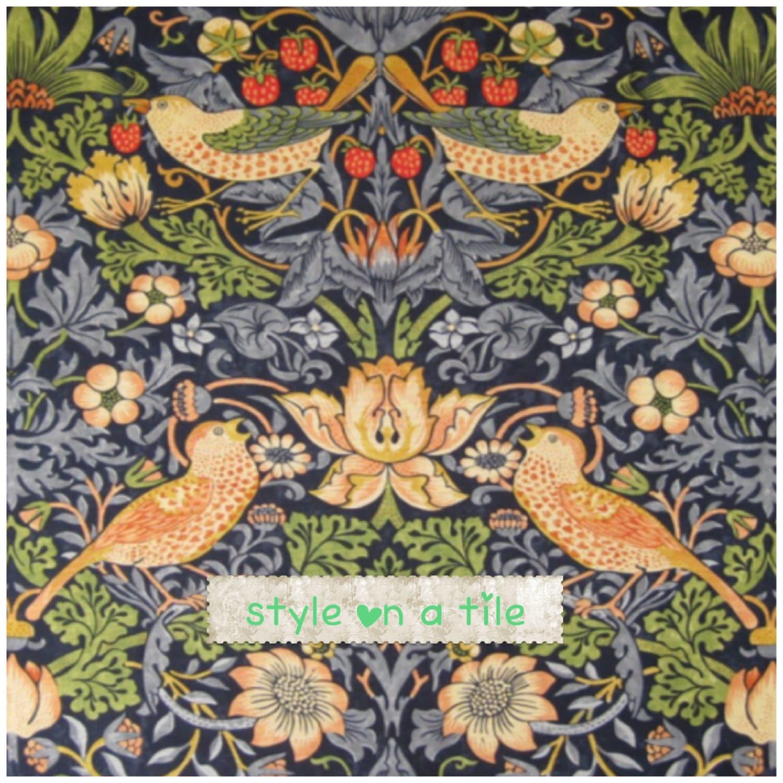 William Morris Indigo Strawberry Thief design 15cm 6 large ...