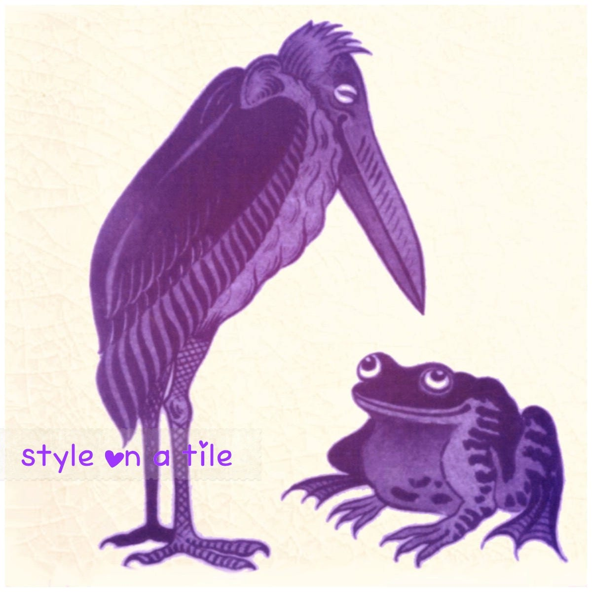 Art & Crafts William De Morgan Purple Stork Bird Frog 6/152mm ...