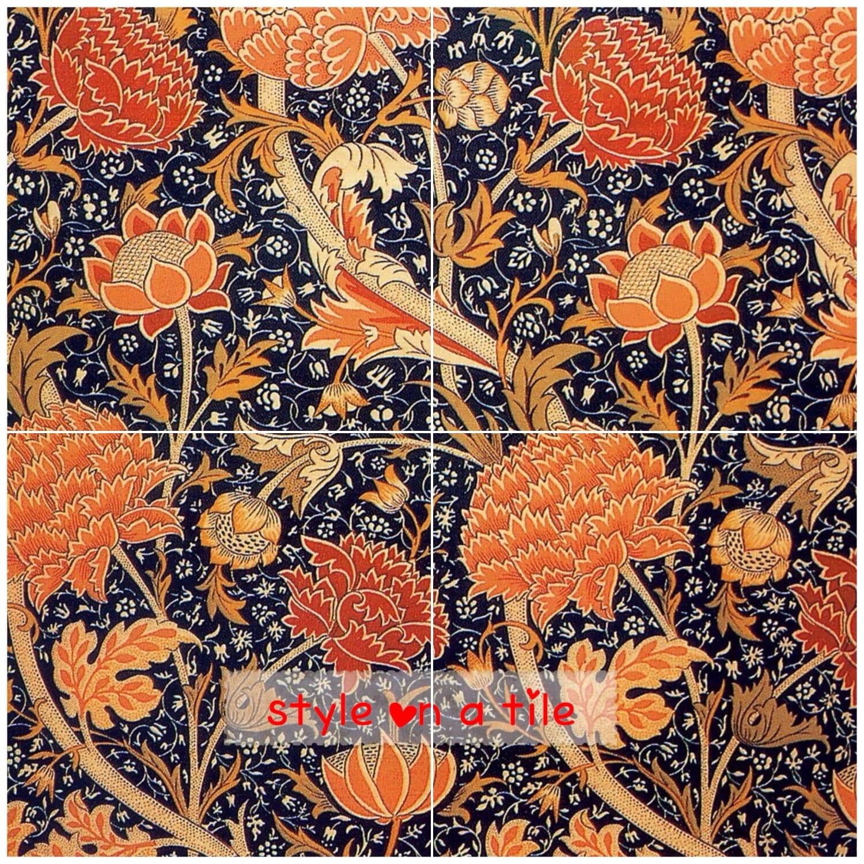 Lovely William Morris Floral Cray Flower 4 X 6 Or 152mm Ceramic Tile
