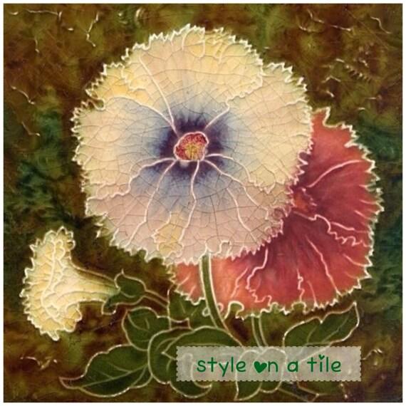 Beau Art et l'artisanat pétunia fleur design napperon carré table serveur mat pièce maîtresse