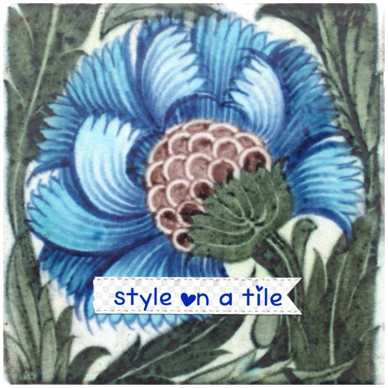 Lovely William De Morgan Blue Sunflower flower B 6/152mm ceramic ...