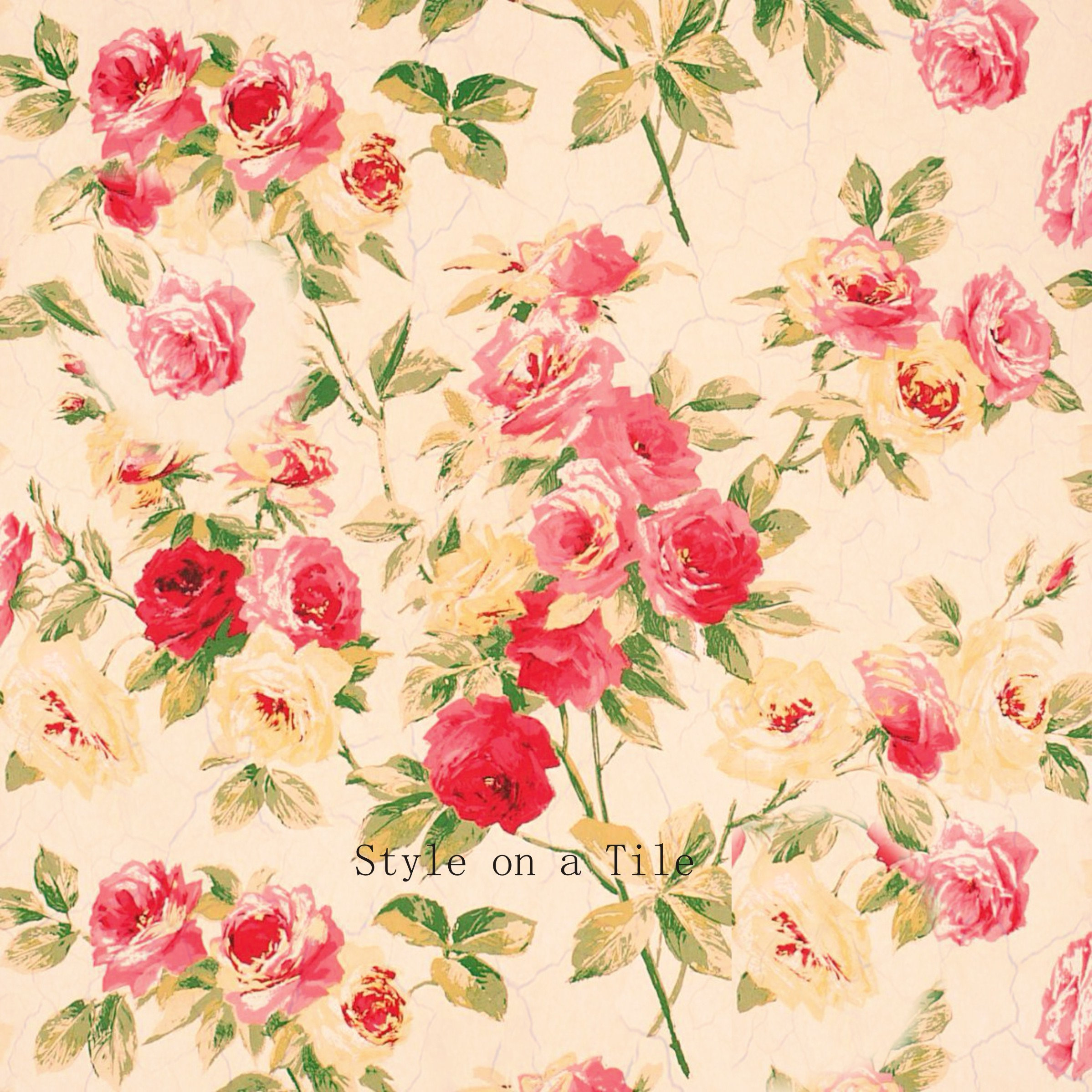 Lovely Pink Red Cream Rose Flower Shabby Chic Chintz